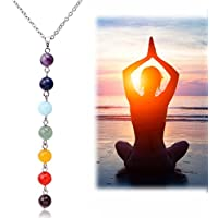 7 Chakra Beads Pendant Chain Necklace Women Yoga Reiki Healing Balancing Jewelry