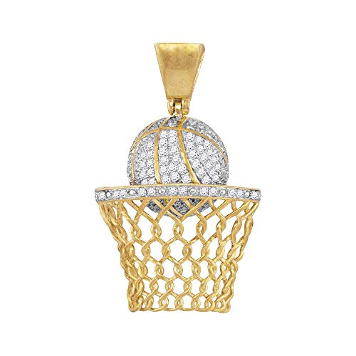 - The Diamond Deal 10kt Yellow Gold Mens Round Diamond Basketball Hoop Net Charm Pendant 3/4 Cttw