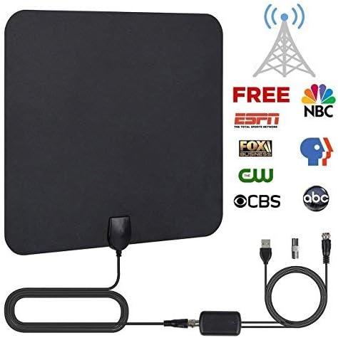Antena de TV,Antena Digital HDTV Antena Parabolica Portatil Ultra Delgado TDT Interior Cable de TV 50 Millas con Amplificador de Señal y Amplificador ...