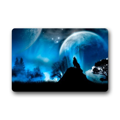 Fantastic Doormat Roaring Wolf At Moon Night Art Door Mat Rug Indoor/Outdoor/Front Door/Bathroom Mats£¬Bedroom Doormat 23.6