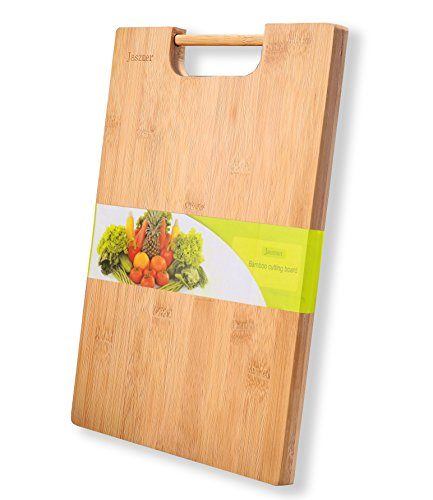jaszmer Natural Bamboo Cutting Board, Preminum Wood Cutting Board Multi-Size Chopping Serving Board with Handle, 13.38✕9.45✕0.71 in