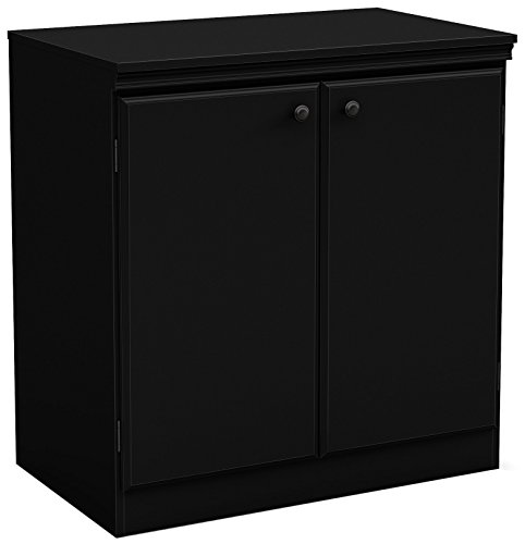 - South Shore Small 2-Door Storage Cabinet with Adjustable Shelf, Pure Black