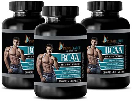 Muscle Growth Supplements for Men - BCAA 3000 MG - PRE & Post Workout - Amino acids bcaa Bodybuilding - 3 Bottles 360 Tablets