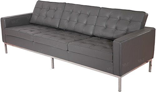 MLF Florence Knoll Style 3 Seater Sofa. Gray Top Grain Aniline Leather
