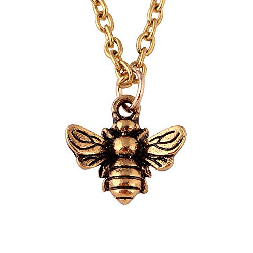 WUSUANED Vintage Minial Honeybee Bumblebee Necklace Insect Jewelry for Women Girl (bee necklace antique gold) ()