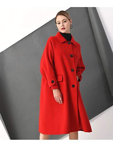 Brodé Manteau Coupe Femmes Lâche Laine Longues Vintage Veste À Vioy Automne L Manches Les D'hiver Pour Chaud Rouge vent Et Boucle En qXqng0Bw