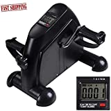 Pedal Exerciser Mini Stationary Bike Cycle Arm Leg Exercise Under Desk Pedal Bike Portable Fitness with LCD Counter (Black)