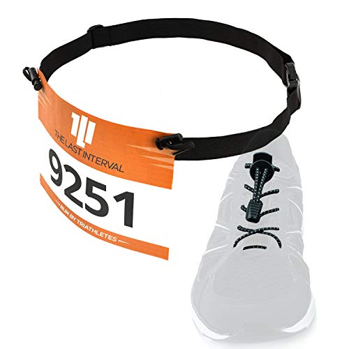 Race Number Belt + Elastic No Tie Shoelaces - Running, Triathlon Kit (Black Belt, Black Laces) ()