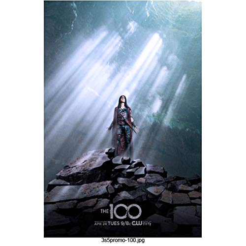 Marie Avgeropoulos 8 Inch x 10 Inch PHOTOGRAPH The 100 (TV Series 2014 -) Standing on Rock Pile in Shafts of Light Title Poster kn