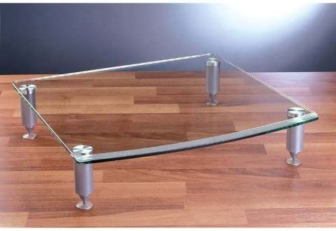 VTI Manufacturing AGR404S-01 4 Silver Poles 1 Glass Shelf Amp Stand