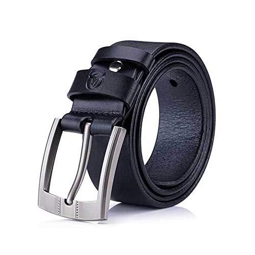 Hebilla Crazy Hombre Horse Para De Cinturón Piel Black Crema Casual Jóvenes Con Cuero Engrosamiento Correa 1Hx8E