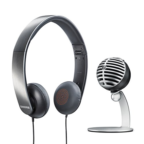 Shure Gaming Bundle with MV5 USB Desktop Microphone (Gray) and SRH145 Headphone