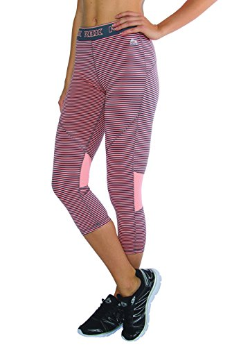 RBX Active Women's Striped Capris With Elastic Contrast Waistband,Large,Grey / Peach Tea Stripes