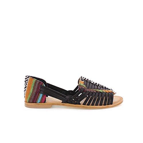94455 Vaqueta Cuero/Textil Etnic Cuero - Sandalias para Mujer, Color Marrón, Talla 41 Mtng