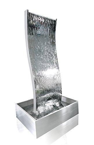 130 Cm Gewellte Wasserwand Aus Edelstahl Mit Plastikreservoir