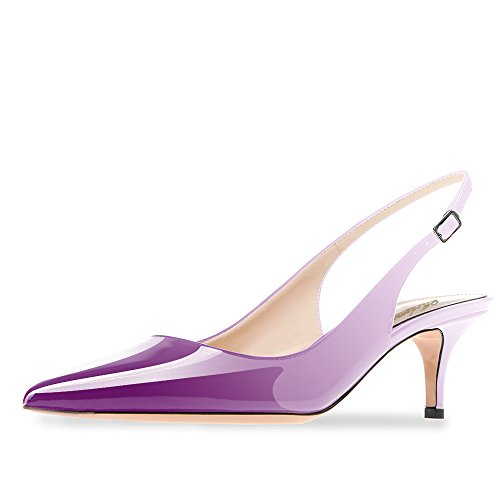 Violet Womens Dress Heels Shoes (Modemoven Women's Violet White Patent Leather Pointed Toe Slingback Ankle Strap Kitten Heels Pumps Evening Stiletto Shoes - 8.5 M US)