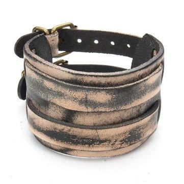 Two-Base Hit - Men Bracelets - Punk Double Buckle Rect Wide Leather Bracelet B Uni - (Rect Base)