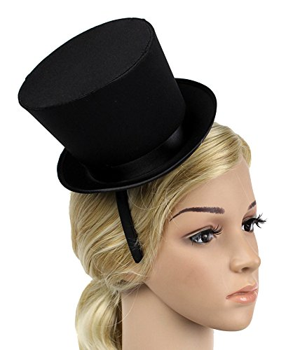 BABEYOND Black Mini Top Hat Headband Dress Up Costume Party Fancy (Black Top Hat Headband)