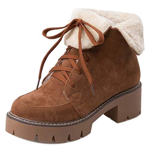 Donne Marrone Moda Martin RAZAMAZA Blocco Tacco Stringate Boots Stivali A HdnPzWq