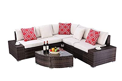 HTTH 6 Pieces Patio Furniture Sets Outdoor Sectional Patio Wicker Sofa
