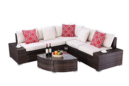 "Do4U 6 Pieces Outdoor Patio PE Rattan Furniture Sectional Conversation Set, All-Weather Wicker Rattan Sofa Beige Seat & Back Cushions (Brown) - √『PREMIUM QUALITY』: Built from a rust-resistant steel frame with durable, weather-resistant PE rattan wicker for years of use. √『HUMANIZED DESIGN』: Zippered cushions filled with 4"" thick cotton for optimal comfort and relaxation, patio outdoor sectional gives you a excellent seating experience. Perfect for indoor, outdoor garden,patio, porch, poolside and yard. √『COMFORTABLE CUSHIONS』: All cushions come with zippered 250g polyester covers which are removable for easy cleaning; Removable tempered glass on the table adds more convenience to clean after use and a sophisticated touch as well. - patio-furniture, patio, conversation-sets - 41wH5JH78LL -"
