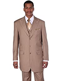Men's 3 Piece Gangster Pin-striped Suit with Vest 5903v