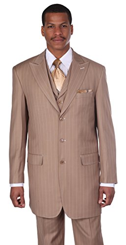 Tan Pinstriped - Men's 3 Piece Gangster Pin-striped Suit with Vest 5903v (46L, Tan)