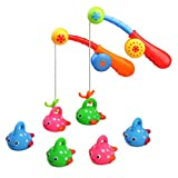 Fajiabao Bath Toys for Kids Age 3 4 Bathtub Fun Toys Fishing Game with Cute Spotted Fish and Fishing Rod, Toy Ideal Gift for Toddlers Boys Girls Kids Children Bathtub Fun Time Set of 2(Color Random)