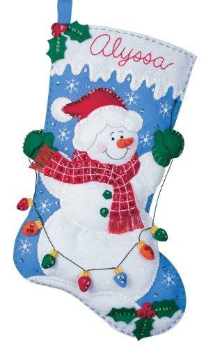 Bucilla Felt Applique Christmas Stocking Kit: Snowman with Lights Plaid Enterprises WM86374