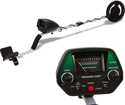 Treasure Cove 1020 Metal Detector, Easy to Use Operate for Adults or Teens, Waterproof Search Coil, Adjustable Height Volume, High Accuracy Easy to Read Display