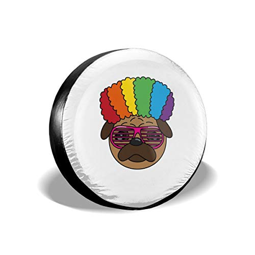 (Rainbow Wig Afro Pug Dog Sunglasses Spare Tire Cover Rear Car Decorations Holiday Ornament Wheel Accessories Decor Protector 14 15 16 17 Inch for Jeep Trailers RV SUV Trucks Offroad Parts)