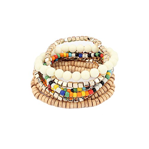 LUREME Bohemian Beads Cube Multi Strand Stretch Stackable Bangle Bracelet Set-Colorful (bl003172-1)