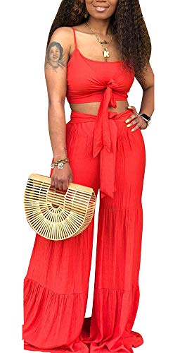 Women's Sexy Two Piece Outfits Spaghetti Strap Slim Tied Front Crop Tops Wide Leg Long Pants Jumpsuits Red ()
