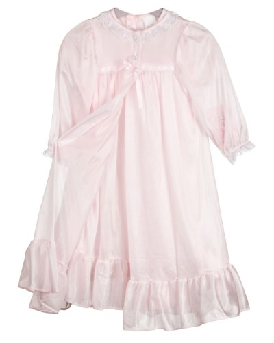 Laura Dare Little Girls Pink Long Sleeve Traditional Peignoir Set, 6