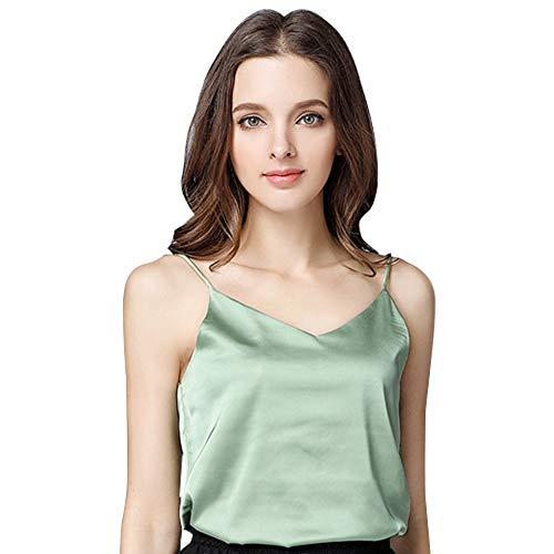 Basic Women's Silk Tank Top Ladies V-Neck Camisole Silky Loose Sleeveless Blouse Tank Shirt with Soft Satin ()