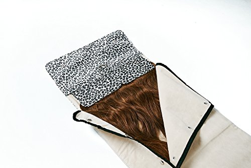 Hair extension carrier and hair extension travel storage bag (satin cheetah)