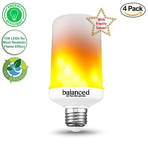Balanced Co. LED Flame Effect Light Bulb Upside Down, E26 LED Flickering Flame Light Bulbs with 108 LEDs for Most Realistic Flame on the Market- 4 Pack