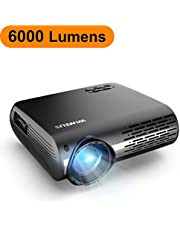 Vidéoprojecteur, WiMiUS 6000 Lumens Vidéo Projecteur Full HD 1920x1080P Natif Rétroprojecteur Supporte 4K Son Dolby avec Réglage Digital 70,000 Heures Projecteur LED Home Cinéma & Présentation PPT