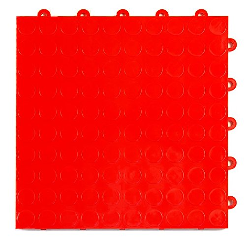 Greatmats Garage Floor Tile Cointop 1 ft x 1 ft 24 Pack Red 10 X 24 Coin Pattern