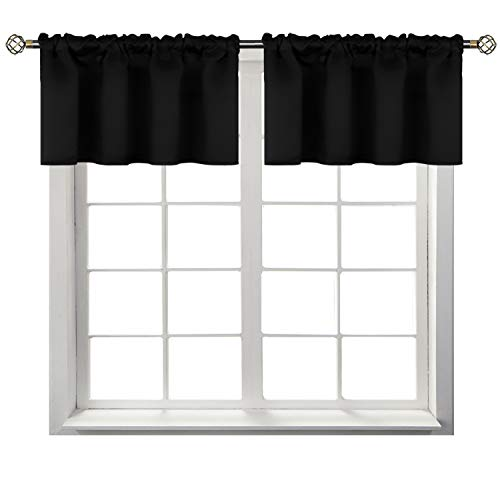 (BGment Rod Pocket Valances for Kitchen- Thermal Insulated Room Darkening Tier Valance Curtain for Dinning Room, 42 x 18 Inch, 2 Panels, Black)