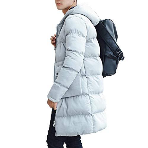Laterali Inverno Da Sottile Tasche Orlo Abbigliamento Giacca Rotondo Incappucciata Uomo Cappotto Grau Caldo Imbottite Colore Lungo Puro Trapuntato 48Y7R7