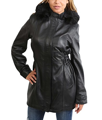(Ladies Mid Length Fitted Soft Leather Coat with Detachable Hoodie Kathy Black (Medium))