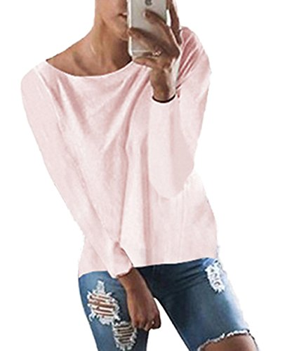 Shirt en en V Vrac Chandail Manches Femme Tops Automne T Rose Sweater Nu Dos CWCentury Crois Pull Hiver Tricot Col Longues Sexy IY4qfaxw
