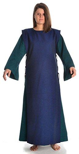 Baumwolle Kleid S Grün Mittelalter mit grün mit HEMAD Leinenstruktur Blau Skapulier XL Damen Damenkleid aB8qnZg