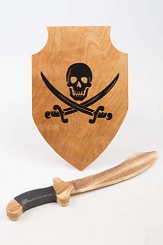 Classic Child's Wooden Sword and Shield Set - (Wooden Pirate Sword)