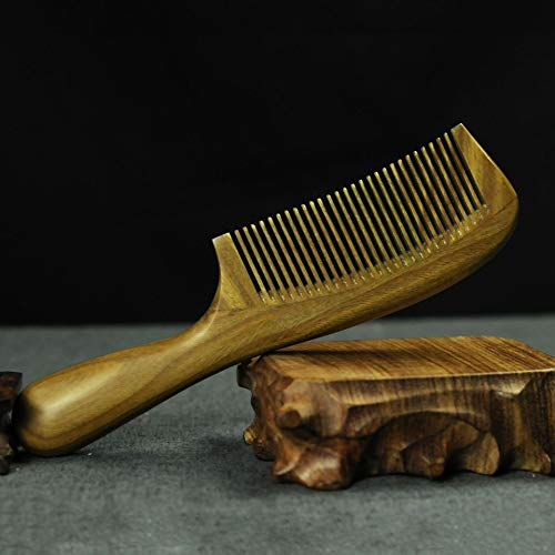 Green sandalwood comb, jade sandalwood thick round handle long handle comb, boutique massage head comb
