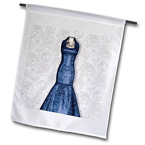 3dRose Doreen Erhardt Wedding Collection - Blue Bridesmaid Gown on Soft Faded Rose Bud Background for Wedding - 18 x 27 inch Garden Flag (fl_304624_2)