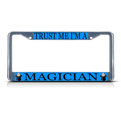 MAGICIAN Style 3 Career Profession Chrome Metal License Plate Frame Tag - Style Careers