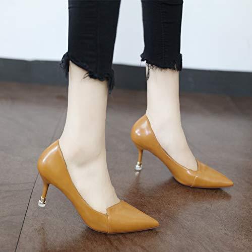 Stile sottolineato lavoro stiletto moda semplice scarpe superficiale YMFIE B europeo alti scarpe bocca unita tacchi sexy tinta da wBURBxd