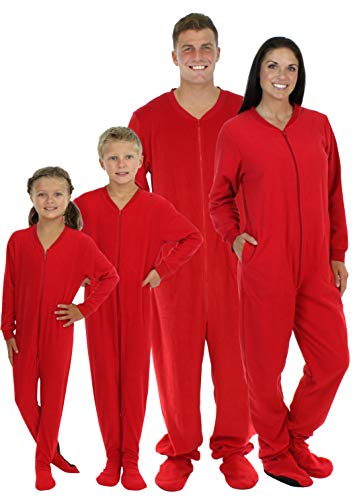 SleepytimePjs Family Matching Red Fleece Onesie Pjs Footed Pajamas for Family-Women (STM17-W-RED-MED)